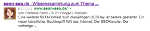 Screenshot des Serp Ausschnitts de Website senn-seo.de bei Google